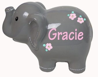 Personalized Gray & Pink Elephant Bank for Girls Gray with White Name for Boys Ceramic Elephant Piggy Bank Personalized Elephants ELEP-gray