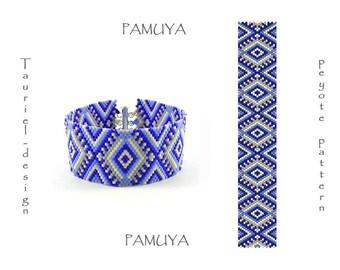 Pamuya, odd count peyote pattern pdf, bracelet, DIY, sapphire, cobalt, gray and ecrue