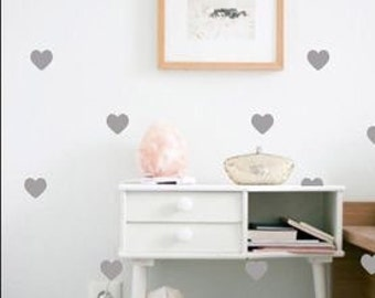 Grey or Gold Heart Wall Decal Sticker. Decor Kids Room Childrens Room Removable Decor Nursery Decorating Wallpaper