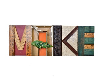 "reclaimed wood, mixed media assemblage, BIG 22"", architectural wood salvage, sign original MAKE sign  by Elizabeth Rosen"