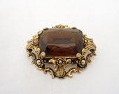 Vintage Topaz Large Brooch, Faux Topaz Brooch, Vintage Gold Tone Large Brooch
