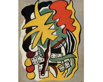 Vintage Color Print from 1948 - Fernand Leger's Composition with Dominoes - Cubism - Mid-Century Wall Hanging - Yellow, Orange and Green Art