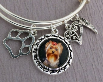Personalized Pet Memorial Charm Bracelet, Dog Memorial Adjustable Bangle Bracelet, Dog Photo Bracelet, Snagless Bangle, Dog Jewelry