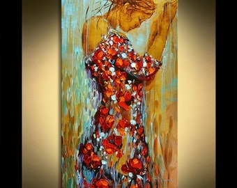 "48"" Red Poppies Dress Original Contemporary Textured Oil Figure Painting on canvas by P. Nizamas ready to hang"