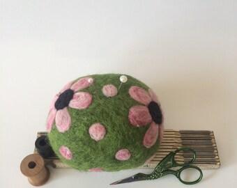 Longarm Quilting Pin Cushion, XL felted wool pincushion