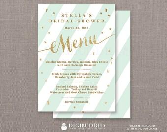 Mint & Gold Menu Bridal Shower Party Menu Mint Stripes Gold Glitter Confetti Lunch Brunch Dinner Confetti DIY Printable or Printed- Stella