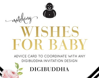 WISHES FOR BABY Card Made to Match any digibuddha Invitation design. Coordinating 5x7 Advice Card Game Favor Baby Shower