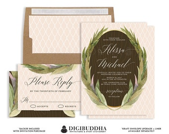 Rustic Wedding Invitation & RSVP Printable Boho Floral 2 Pc Suite Laurel Wreath Leaves Peach Whimsical Free Priority Shipping or DiY- Alissa