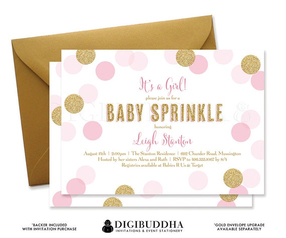 baby sprinkle invitation blush pink & gold baby shower glitter, Baby shower invitations