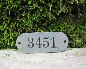 Number Tag Vintage Original Locker Basket Tag Worn Metal Number 3451 Tag #3451 Tag Lucky Number Address Door Number vtg Early 1900's Old