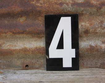 Number Sign Metal Vintage 3 or Number 4 Double Sided Large 11 1/2 x 7 1/2  Inches Three Four White Black vtg Gas Price Sign Service Station