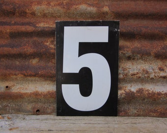 Number Sign Metal Vintage 5 or Number 6 Double Sided Large 11 1/2 x 7 1/2  Inches Five or Six White Black vtg Gas Price Sign Service Station