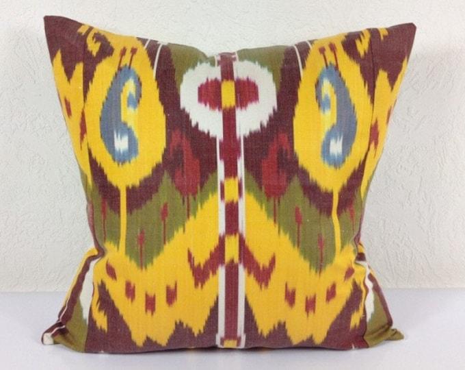 Ikat Pillow, Hand Woven Ikat Pillow Cover A408-1AA3, Ikat throw pillows, Designer pillows, Decorative pillows, Accent pillows
