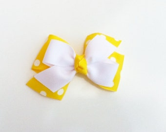 Yellow hair bow, girls hairbow
