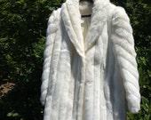 SALE! Fabulous vintage white faux mink fur jacket coat