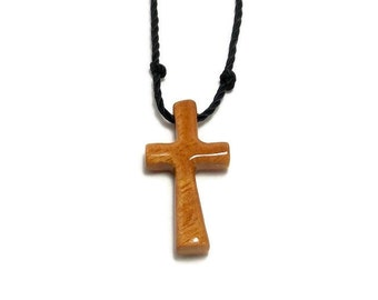 Simple Cross Necklace, Wooden Cross Jewelry, Cross Necklace, Handmade Osage Orange Necklace, Gifts Under 20