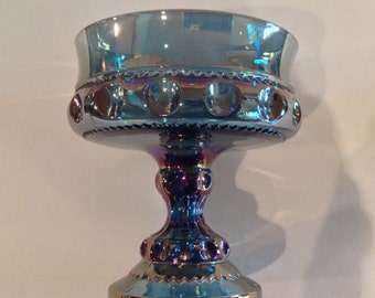 1970s Fenton Glass Iridescent blue pedestal candy dish Carnival Glass Thumbprint King's Crown