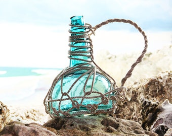 Pirates Rum Jug in Rope Netting, Emerald, Beach Decor by SEASTYLE