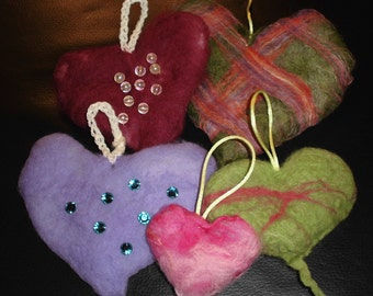 DIY Felted Heart With Beads Kit With Instructions. Diff. Colors. Easy Felted Heart Kit
