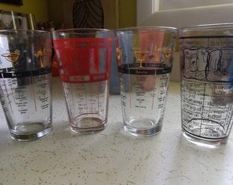 Set of Four Cocktail Mixer Glasses/Vintage Glass Tumblers/Vintage Barware
