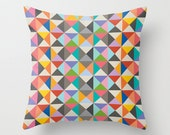 Retro Triangle Pattern Decorative Pillow Cover, Multicolour pop art pillow cover, Geometric Cushion cover, Indoor or Outdoor pillow cover