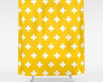 36 colours, Crocus Yellow, Swiss Cross Geometric Pattern Shower Curtain, plus sign pattern bathroom shower curtain, bathroom decor