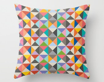 Retro Triangle Pattern Decorative Pillow, Multicolour pop art pillow cover, Includes Faux Down Insert, Indoor or Outdoor cover