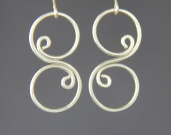 Sterling silver scroll wiring earring handmade US free shipping Anni Designs