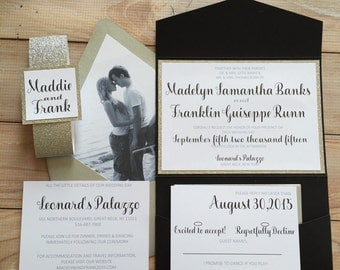 Silver and Black Wedding Invitation with picture, Gold Glitter Wedding Invitation Suite with RSVP, Silver Glitter Invitation, Madelyn