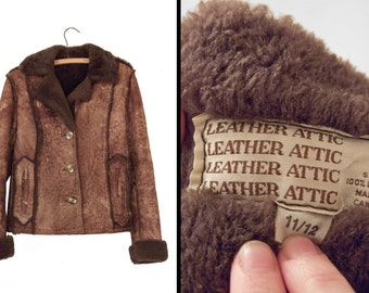 1970s SHEARLING Jacket // Leather Attic Size Small // Sheepskin Leather Dusted Cocoa Brown