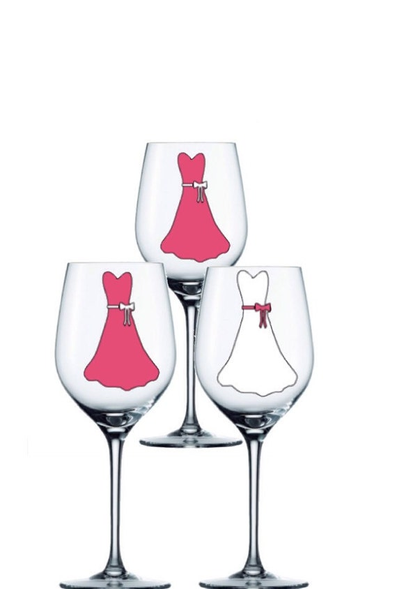 Wedding Gift Personalized Wine Glasses : Glasses set of 3- Personalized Wedding Wine Glass - Dress Wine Glasses ...
