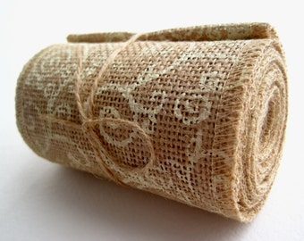"Burlap Ribbon with Cream Scroll Print - 4"" X 10' - Country House"