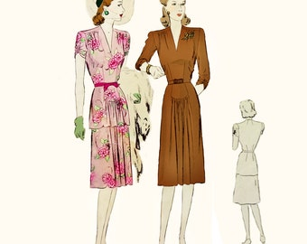 1940s Style V Neck Peplum Dress With Gathered Skirt Custom Made in Your Size From a Vintage Pattern