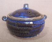 Stoneware individual Casserole pot, with blue beige glaze.