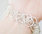 Chain Bracelet - Statement Jewelry - Multiple Circle Bracelet - Link Bracelet - Sterling Silver Bracelet - Hammered Chain
