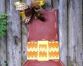 Pilgrims Hat Door Hanger, Fall Door Hanger, Autumn, Chevron, Brown Hat, Thanksgiving Door Hanger
