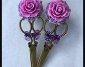 PICK SIZE Purple Black Rose Scissors Shears Girly Dangle Plugs Plug