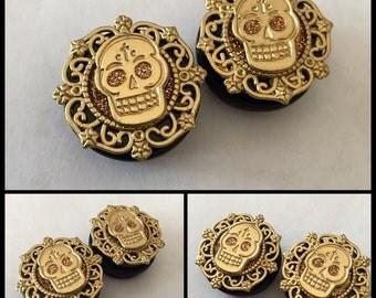 PICK SIZE Gold Glitter Plugs Chola sugar skull  Plugs