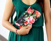 Rose clutch, red rose in black cotton clutch purse, gift for her, wedding attend clutch, bridesmaid gift, bridesmaid clutch