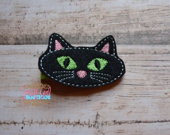 Holiday Infant toddler Girl Hair Accessories -Black Cat Embroidered Clip- Boutique Felt Halloween Hair Clippie-No slip grip