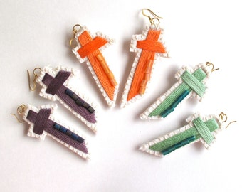 Cross earrings hand embroidered with bead details on gold plated hook in either mint green, mauve purple, or peachy orange textile jewelry