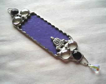 Stained Glass Suncatcher|Buddha|Lavender|Swarovski Crystal|Buddha Suncatcher|Art & Collectibles|Glass Art|Handcrafted|Made in USA