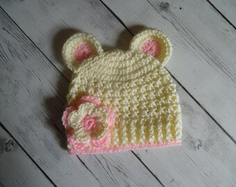 Baby Girl Hat with Ears, Crochet Girl Hat in Ivory and Pink