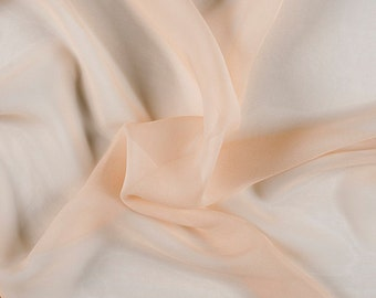 "42"" Wide 100% Silk Crinkled Chiffon Bisque by the yard"