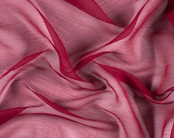 "42"" Wide 100% Silk Crinkled Chiffon Burgundy by the yard"