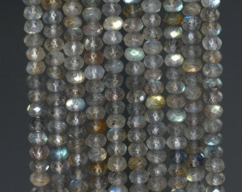 4x3mm Labradorite Gemstone Grade AAA Faceted Rondelle Loose Beads 15.5 inch Full Strand (90186019-112)