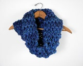 Chunky Cowl Knit Blue Cowl Unisex Scarf