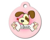 Cute Dog Tag - Pink Cute Puppy Licking a Bone - Personalized Pet Tags, Custom Pet Tags, Dog ID Tags, Cat ID Tag, Dog Tags for Dogs, Dog Tag