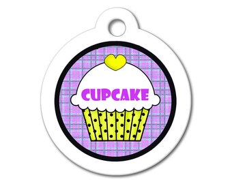 Cute Dog Tag - Yellow Cupcake with Purple Pattern Background - Personalized Pet Tag, Dog ID Tag, Stainless Steel ID Tag, Dog Tags for Dog