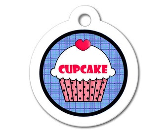Cute Dog Tag - Red Cupcake with Blue Pattern Background - Personalized Pet Tags, Custom Pet Tags, Dog ID Tags, Cat ID Tag, Dog Tags for Dogs